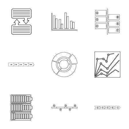 Success statistics icons set, outline style