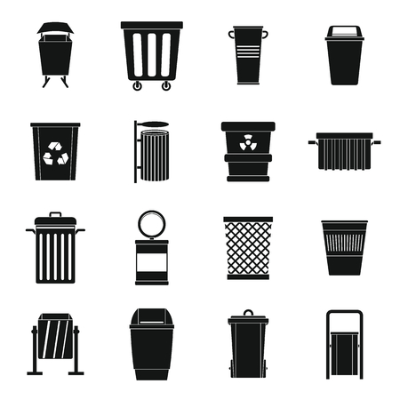 Garbage container icons set, simple style