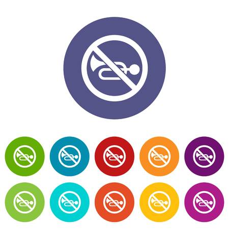 No horn traffic sign set icons 写真素材