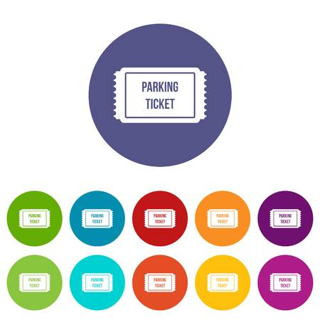 Parking ticket set icons