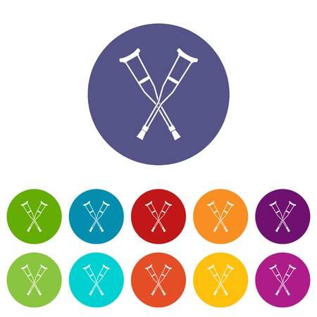 Crutches set icons Banque d'images - 107781909