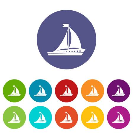 Sailing ship set icons in different colors isolated on white background 版權商用圖片