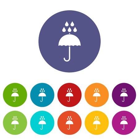 Umbrella and rain drops set icons Stockfoto