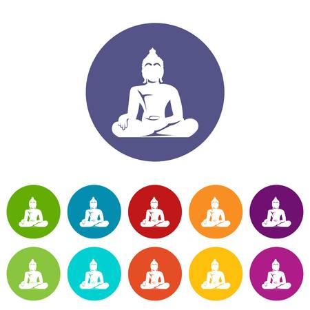 Statue of Buddha sitting in lotus pose set icons Stock Photo - 107782573