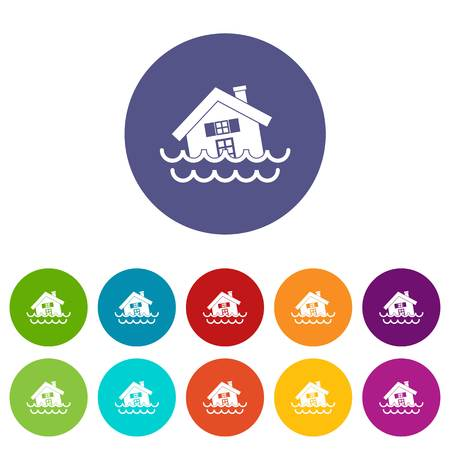 House sinking in a water set icons