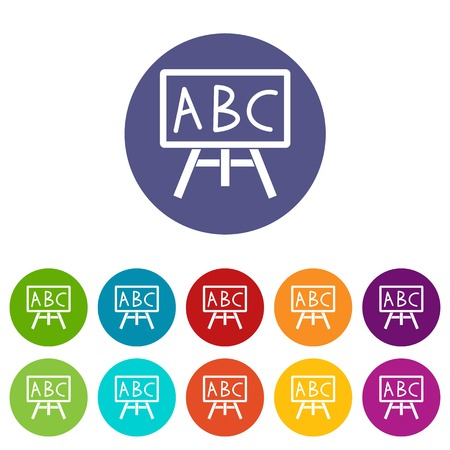 Chalkboard with the leters ABC set icons Stockfoto