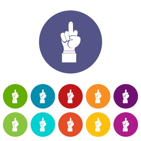 Middle finger hand sign set icons