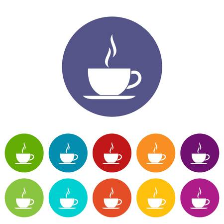 Cup of hot drink set icons in different colors isolated on white background Фото со стока