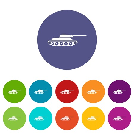 Tank set icons Stock Photo