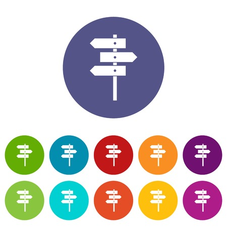 Direction signs set icons
