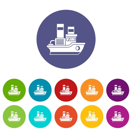 Small ship set icons in different colors isolated on white background 版權商用圖片