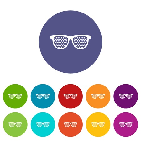 Black pinhole glasses set icons in different colors isolated on white background
