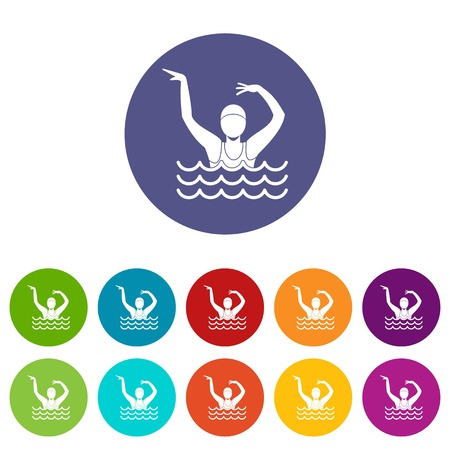 Swimmer in a swimming pool set icons in different colors isolated on white background