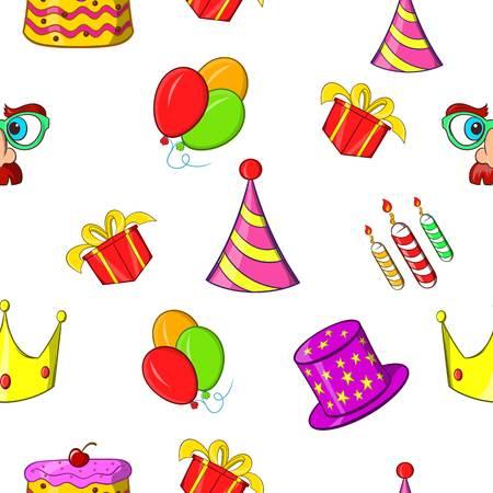 Birthday party pattern, cartoon style