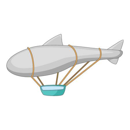 Flying dirigible icon. Cartoon illustration of flying dirigible icon for web