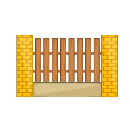 Wooden fence with brick pillars icon cartoon style