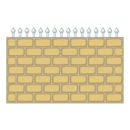 Brick wall fence icon, cartoon style