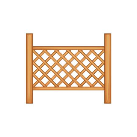 Grid of wooden fence icon, cartoon style