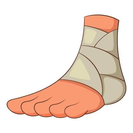 Icône de la cheville blessée, style cartoon