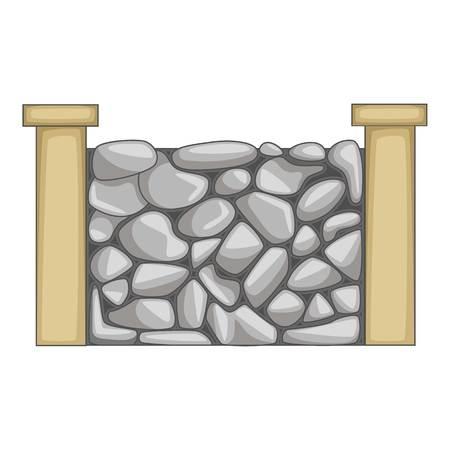 Stone fence icon, cartoon style