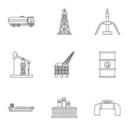 Oil production icons set, outline style Reklamní fotografie
