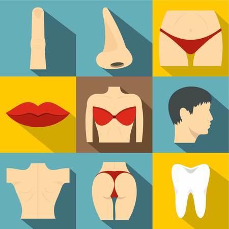 Body icons set, flat style