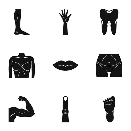 Human body icons set, simple style