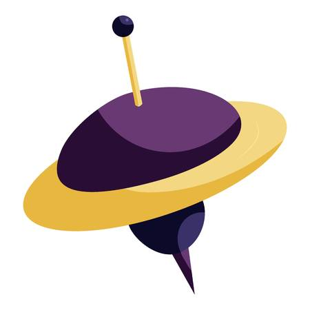 Toy spinning top icon, cartoon style