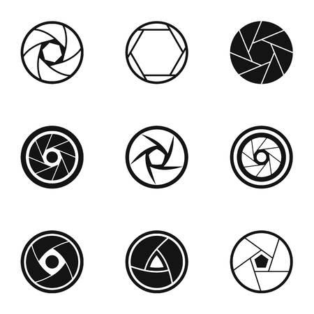 Aperture icons set, simple style Standard-Bild - 107846645
