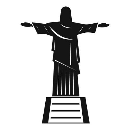 The Christ the Redeemer statue icon, simple style Stock Photo