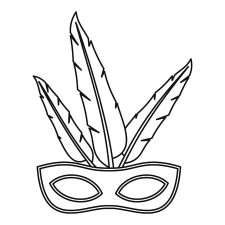 Carnival mask with feathers icon, outline style