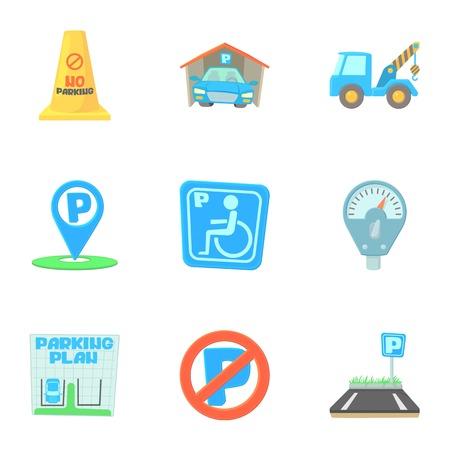 Parking icons set, cartoon style