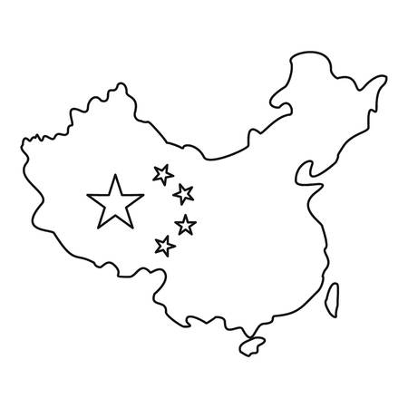 Map of China with flag icon, outline style