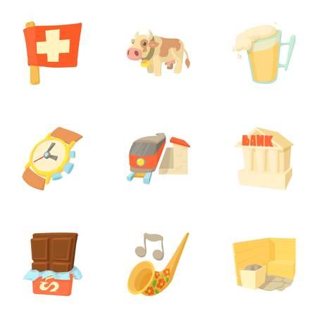 Switzerland icons set, cartoon style