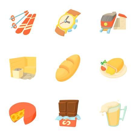 Tourism in Switzerland icons set, cartoon style Stock Photo