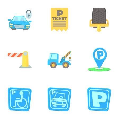 Parking transport icons set, cartoon style