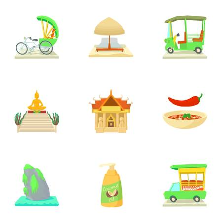 Country Thailand icons set, cartoon style