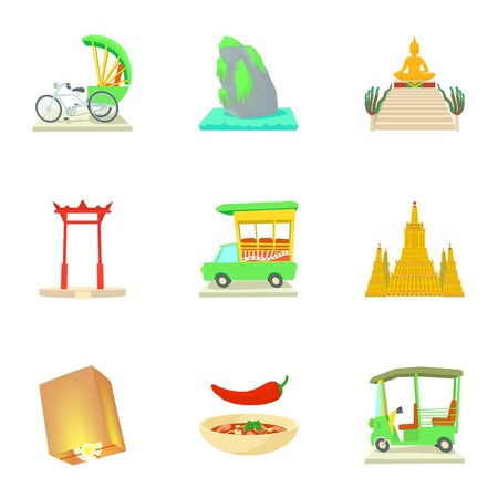 Holiday in Thailand icons set, cartoon style