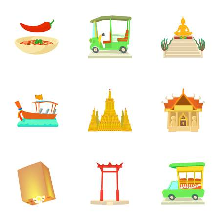 Attractions of Thailand icons set, cartoon style Stock Photo