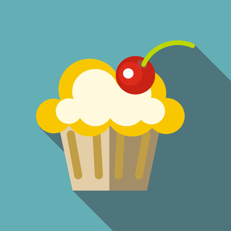 Valentine cupcake icon, flat style