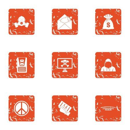 Dangerous cyber icons set. Grunge set of 9 dangerous cyber icons for web isolated on white background