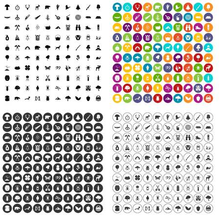 100 forest icons set in 4 variant for any web design isolated on white