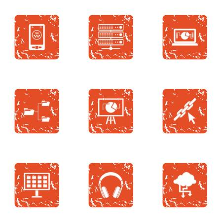 Cyber life icons set. Grunge set of 9 cyber life icons for web isolated on white background
