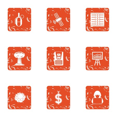 Cyber diversion icons set. Grunge set of 9 cyber diversion icons for web isolated on white background