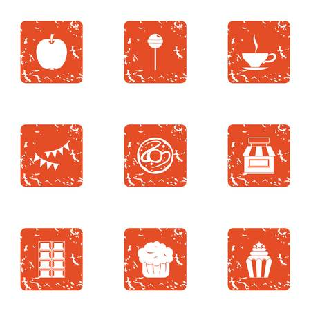 Luscious icons set. Grunge set of 9 luscious icons for web isolated on white background Stock Photo