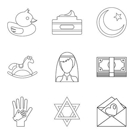 Life partner icons set. Outline set of 9 life partner icons for web isolated on white background