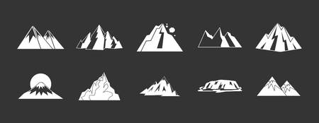 Mountain icon set white isolated on grey background