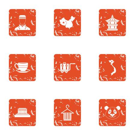 Live asia icons set. Grunge set of 9 live asia icons for web isolated on white background Stock Photo