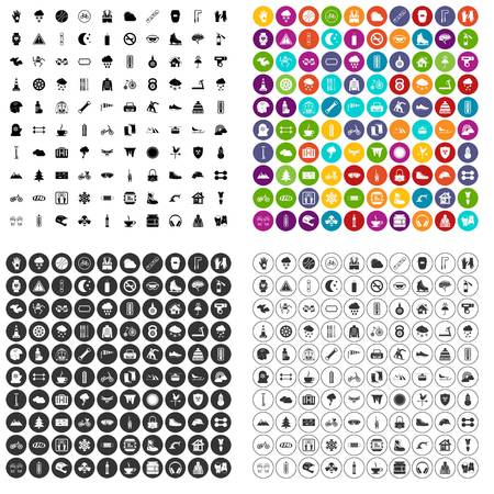 100 glove icons set in 4 variant for any web design isolated on white Stock fotó