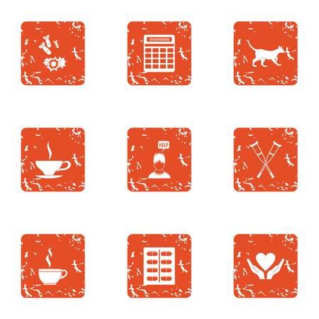 Post war assistance icons set. Grunge set of 9 post war assistance icons for web isolated on white background